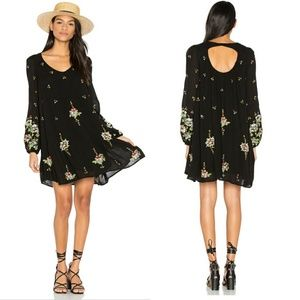Free People Oxford Embroidered Shift Dress Black